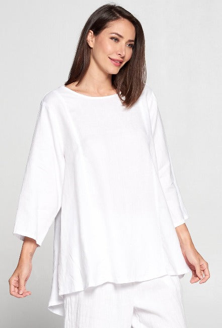 La Fixsun Linen 3/4 sleeve Round Neck Swing Top Vertical Seams  -FBT865 - Lori's Lovelies