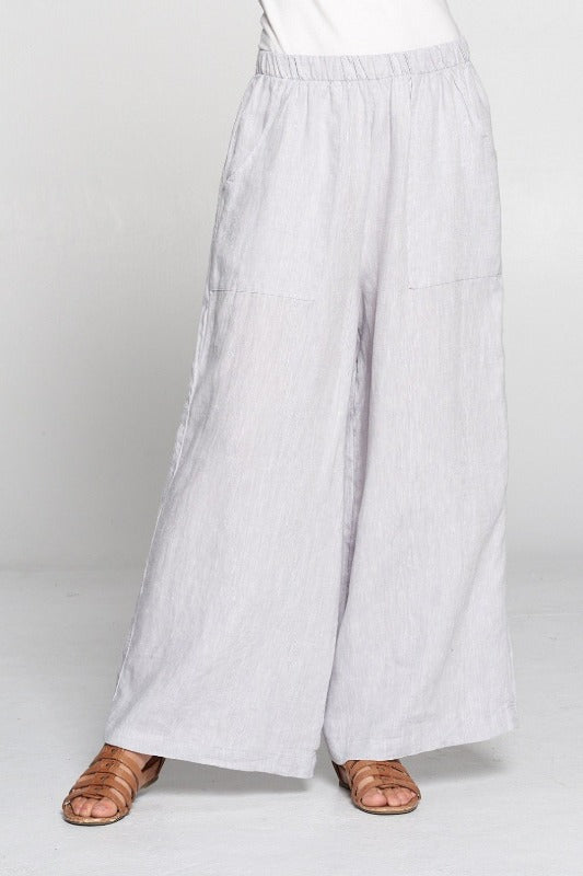 Match Point Linen Yarn Dye Long Wide Leg Pant in Silver, Coffee, Blk/White YDP821 - Lori's Lovelies
