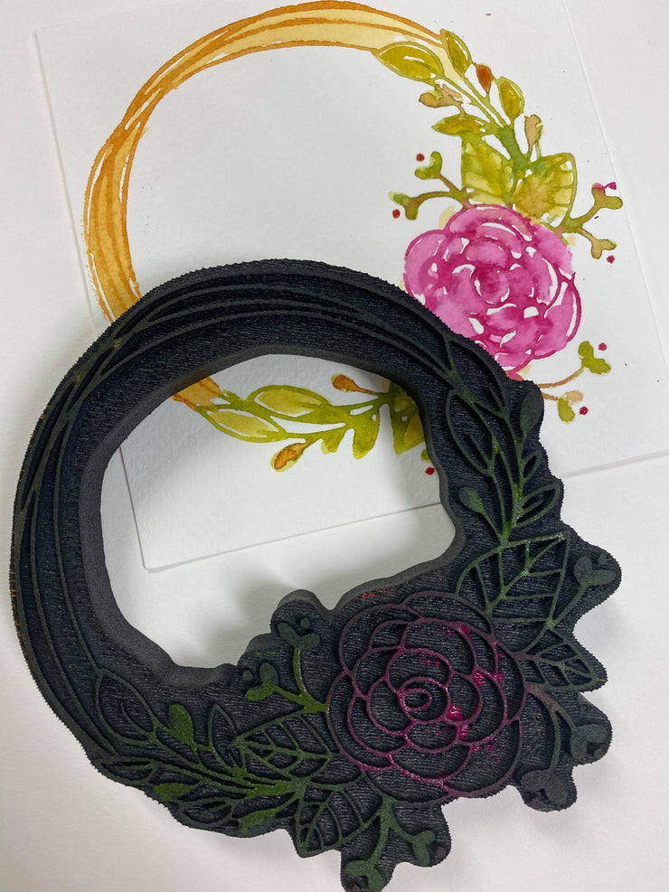 """FLORAL WREATH"" FOAM STAMP"