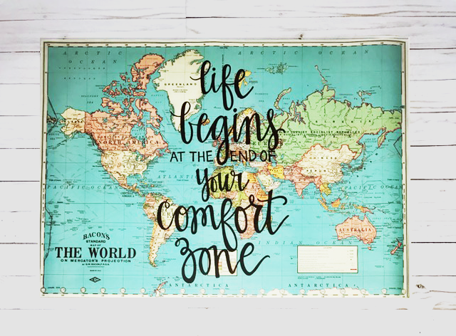 Life begins at the end of your comfort zone 20x28 blue world map life begins at the end of your comfort zone 20x28 blue world map gumiabroncs Images