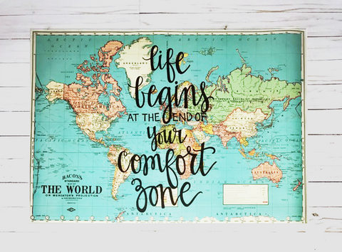 Life begins at the end of your comfort zone - 20x28 Blue World Map