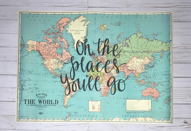 Oh, the places you'll go   20x28 Blue World Map – Gale Nation