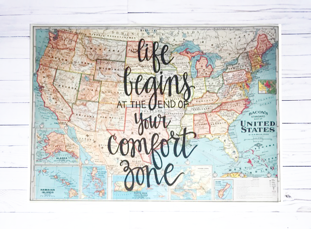 Life begins at the end of your comfort zone - 20x28 United States of  America Map - Gale Nation