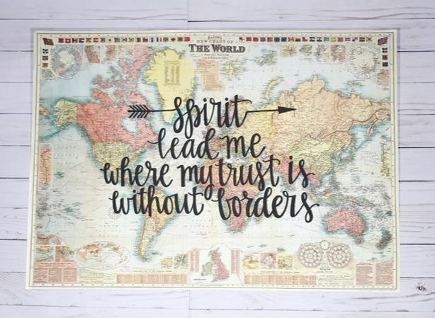 Gale nation Spirit Lead Me Hill Song Hand Lettered Cream World Map