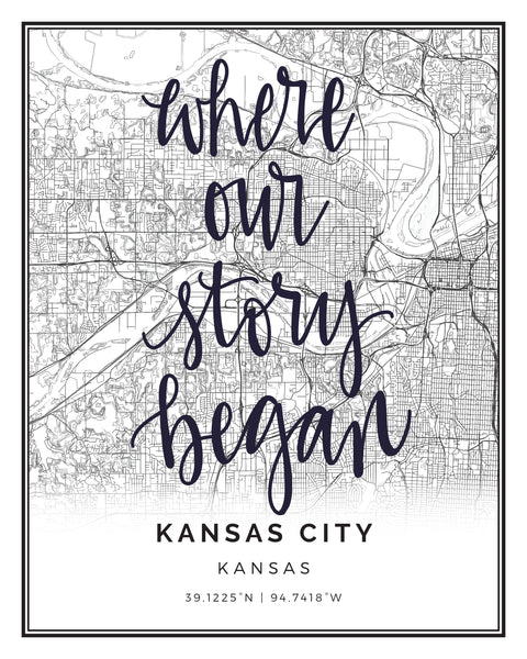 KANSAS CITY, KS BLACK & WHITE CITY PRINT
