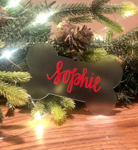 HAND LETTERED ACRYLIC DOG BONE ORNAMENT
