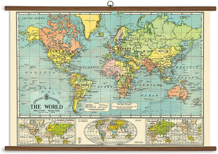"40x28"" Large Vintage-look World Map with Dowels"