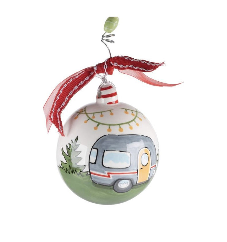 """LIFE IS AN ADVENTURE"" CAMPER ORNAMENT - Personalize this!"