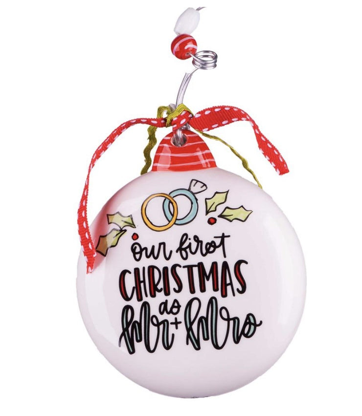 """OUR FIRST CHRISTMAS"" - MR. & MRS. ORNAMENT - Personalize this!"