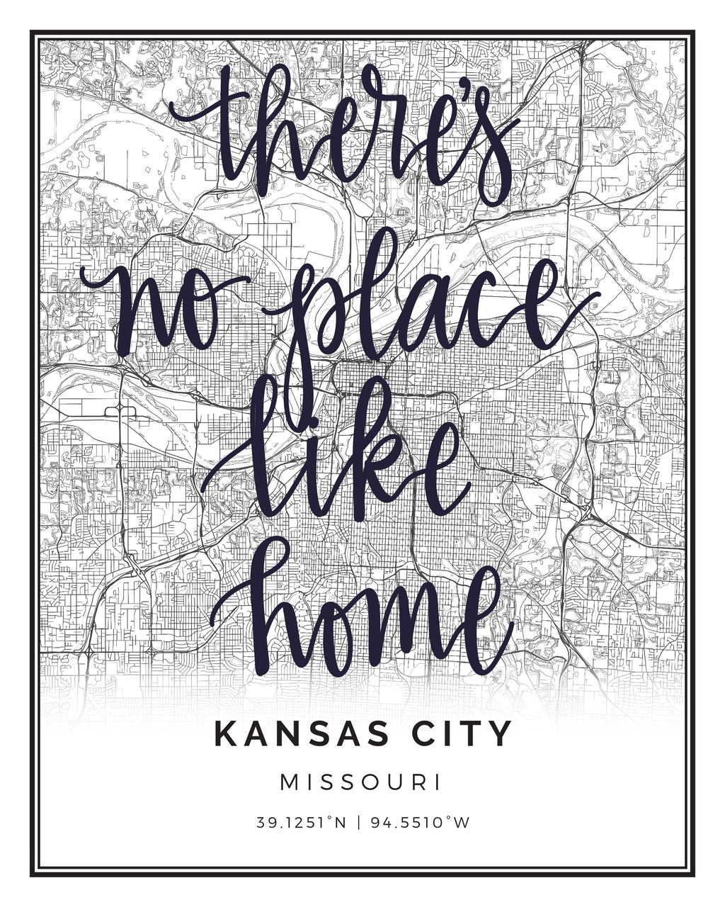KANSAS CITY, MO BLACK & WHITE CITY PRINT