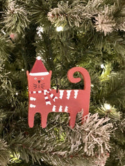 WOODEN CAT - CHRISTMAS ORNAMENT