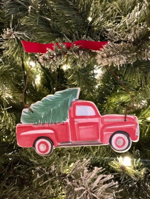 RED TRUCK WITH TREE - 'TIS THE SEASON - ORNAMENT
