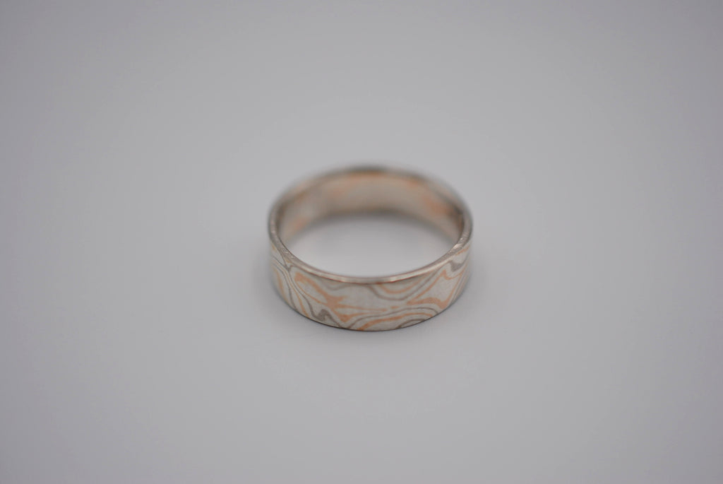 Three Tone Gold Mokume Gane Womens Band