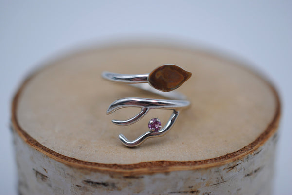 Branching Copper Leaf Rhodium Roots Ring with Pink Tourmaline Gemstone
