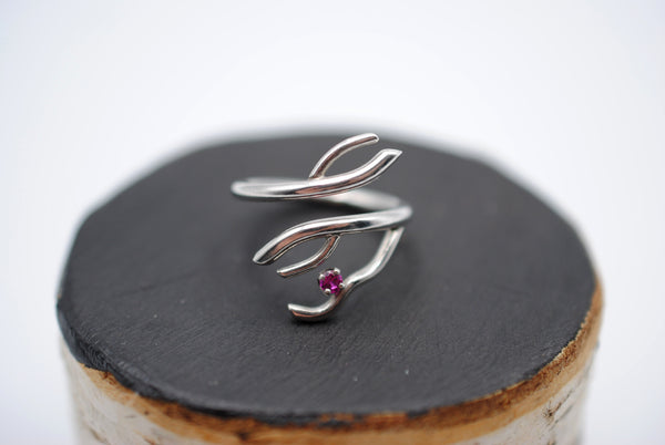 Branching Rhodium Roots Ring with a Ruby Gemstone