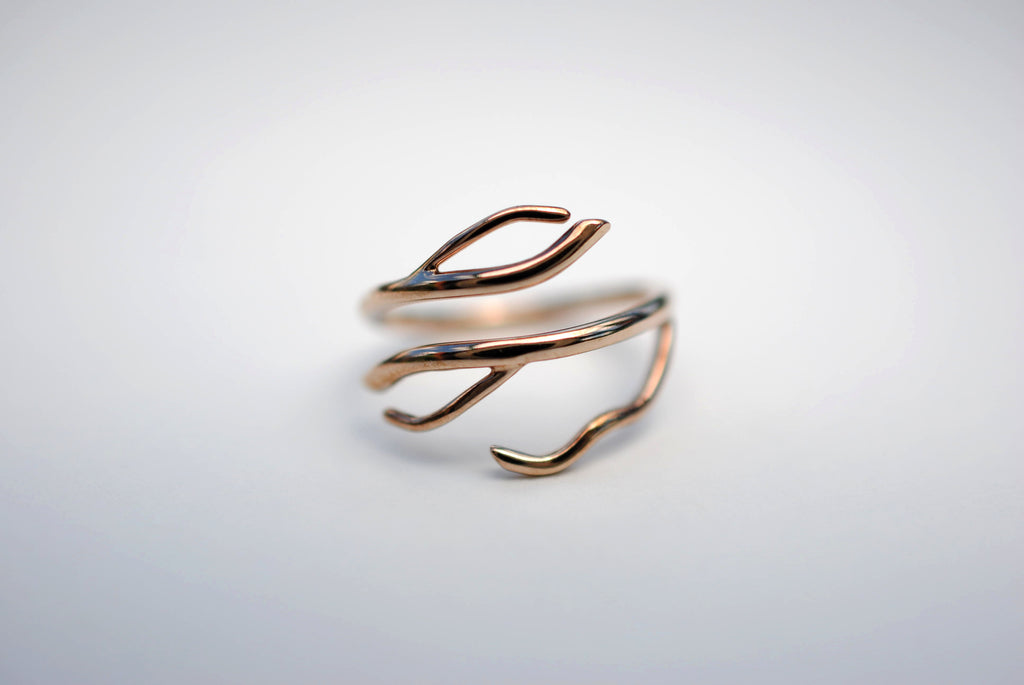 Branching Rose Gold Roots Ring