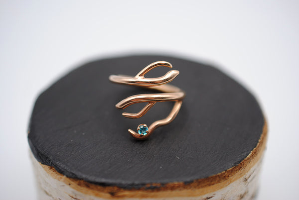 Branching Rose Gold Roots Ring with a Pariaba Topaz Gemstone