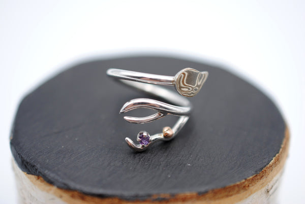 Branching Mokume Leaf Rhodium Roots Ring with Amethyst Gemstone and Gold Accent