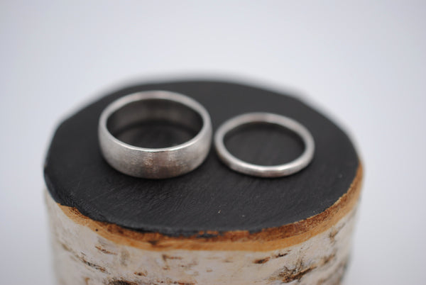Brushed Finish Silver Ring Band Couples Set