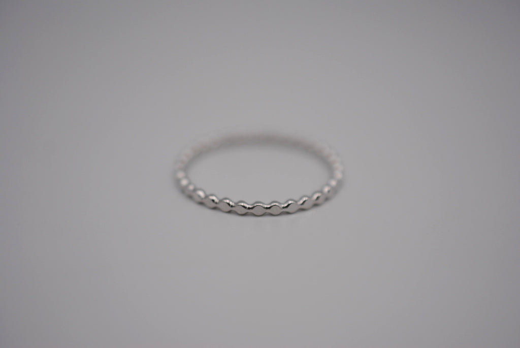 Thin Rhodium Bubble Stacker Ring