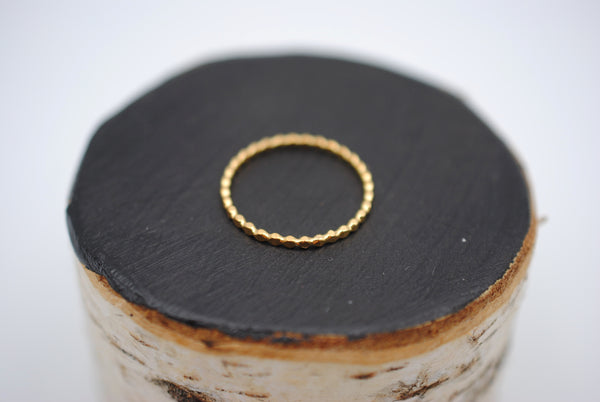 Thin Yellow Gold Bubble Stacker Ring
