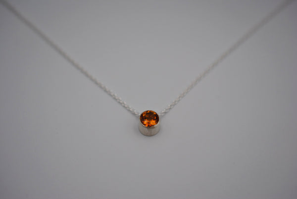 Citrine in Bezel Setting Pendant Finished in Rhodium