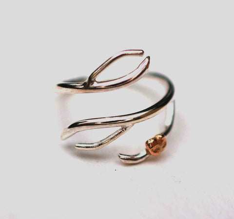 Branching Silver Roots Ring with Raw Gold Accents