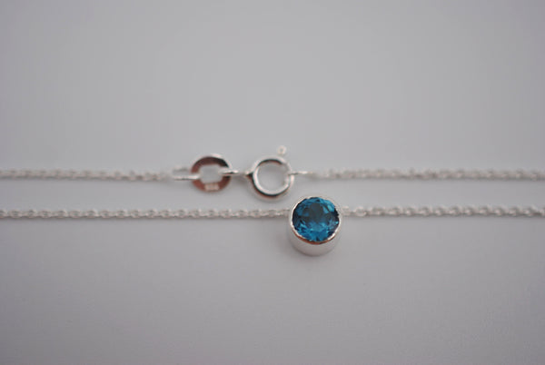 Blue Zircon Bezel Setting Silver Pendant Necklace