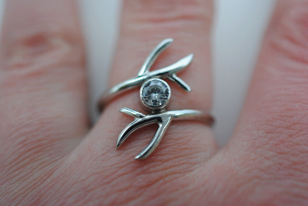 Double Outward Branch with Cubic Zirconia Wedding Ring