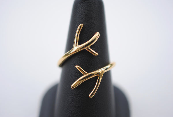 Double Outward Branch Yellow Gold Thicker Roots Ring