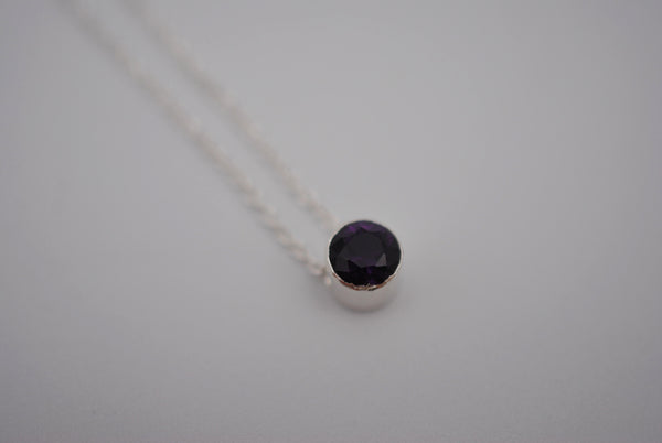 Amethyst Bezel Setting Silver Pendant Necklace