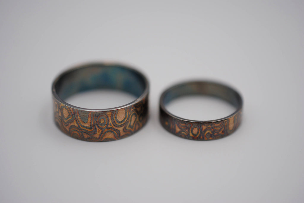 Four Tone Gold Patina Mokume Gane Wedding Set