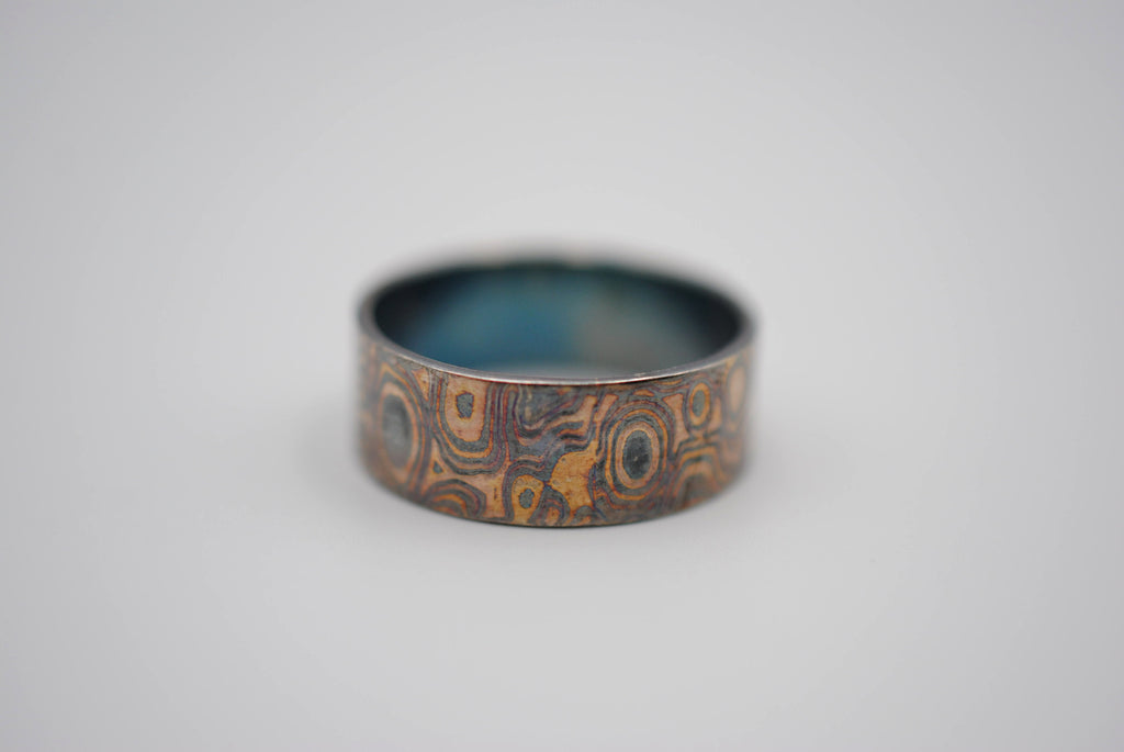 Four Tone Gold Patina Mokume Gane Mens Band