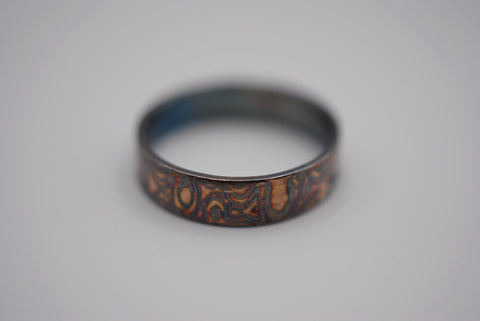 Four Tone Gold Patina Mokume Gane Womens Band