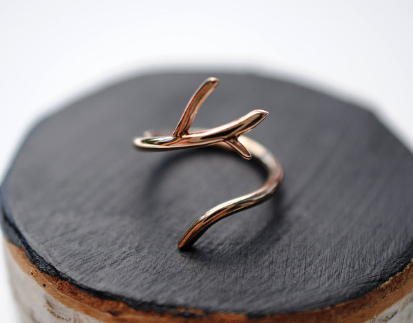 Half Branch Rose Gold Thicker Roots Ring