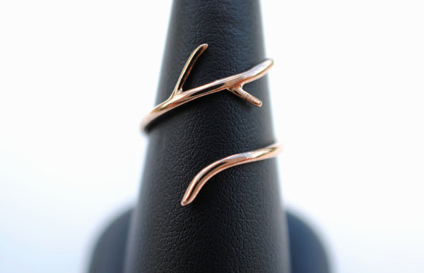 Half Branch Rose Gold Roots Ring