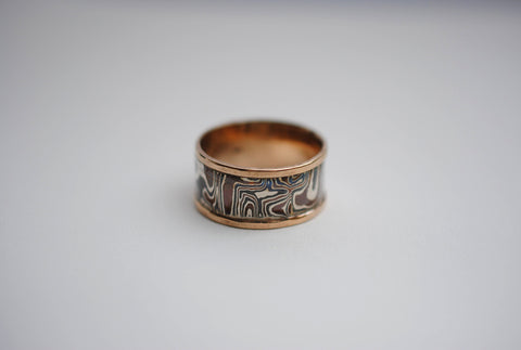 Three Tone Mokume Gane Rose Gold Banded Men's Ring Band