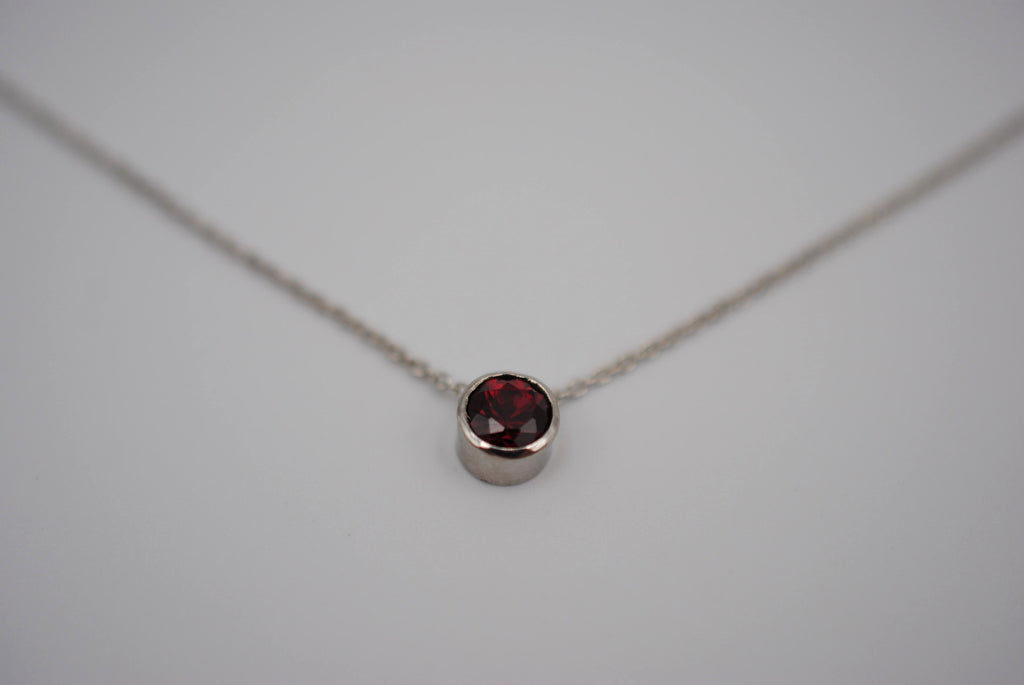 Garnet Bezel Setting Silver Pendant Necklace
