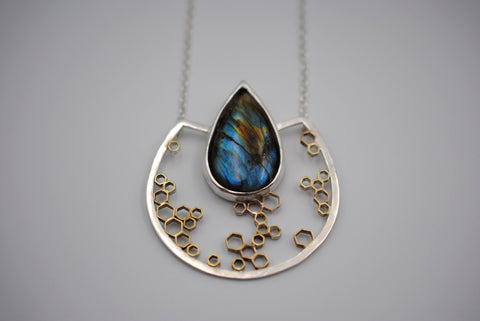 Labradorite Honeycomb Pendant Necklace
