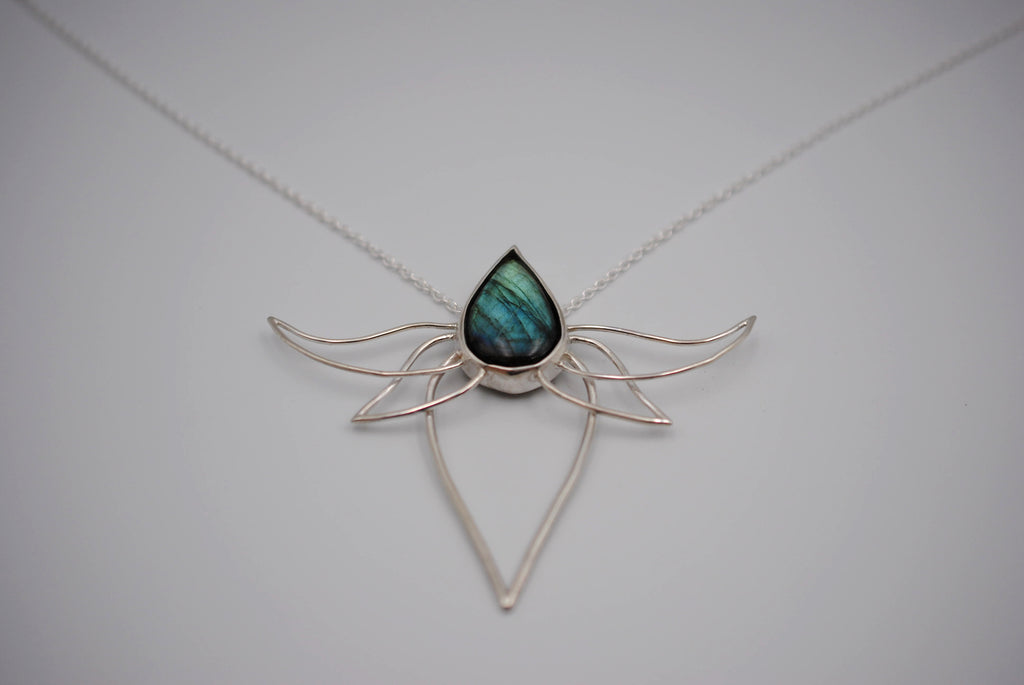 Labradorite Lotus Pendant Necklace