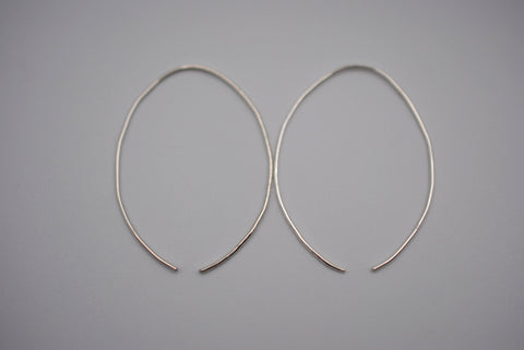 Large Silver Open Hoop Earrings