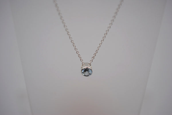 Aquamarine Bezel Setting Silver Pendant Necklace