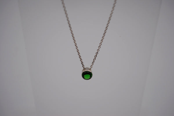 Emerald Bezel Setting Silver Pendant Necklace