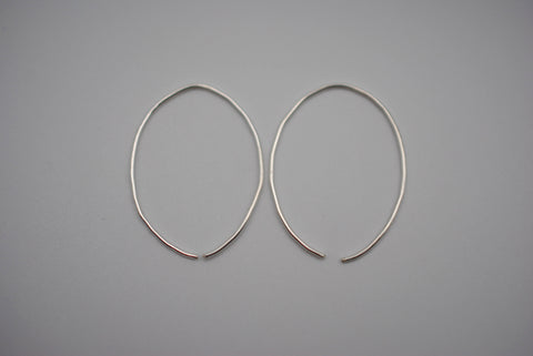 Medium Silver Open Hoop Earrings