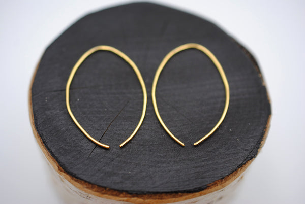 Medium Yellow Gold Open Hoop Earrings