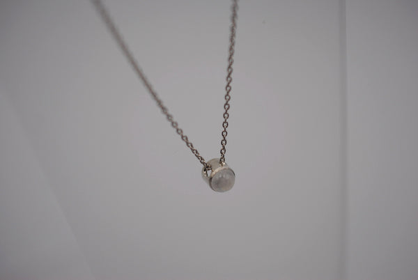 Moonstone Bezel Setting Silver Pendant Necklace