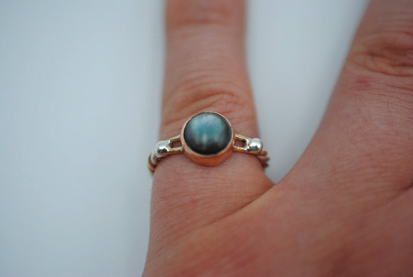 Mother of Pearl Bezel Set Gold Braided Ring