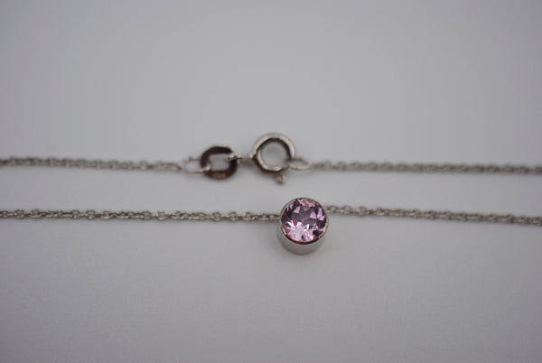 Pink Tourmaline Bezel Setting Silver Pendant Necklace