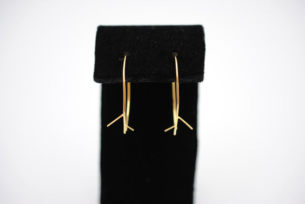Outward Twig Yellow Gold Roots Dangle Earrings
