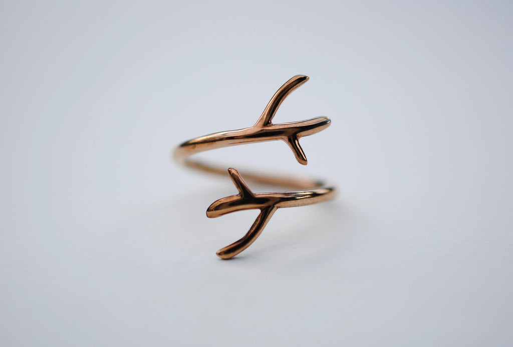 Double Outward Branch Rose Gold Thicker Roots Ring